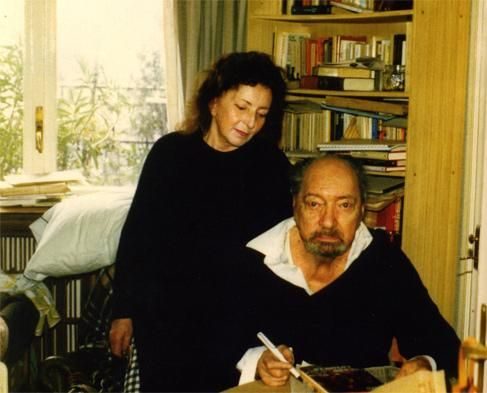 Idea Vilariño y Juan Carlos Onetti. Madrid, 1987