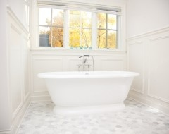 Master bath- hexagon carrera marble floor