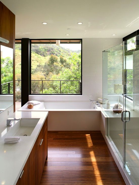 #Modern #bathroom with an angular, #minimal design. Love that view!