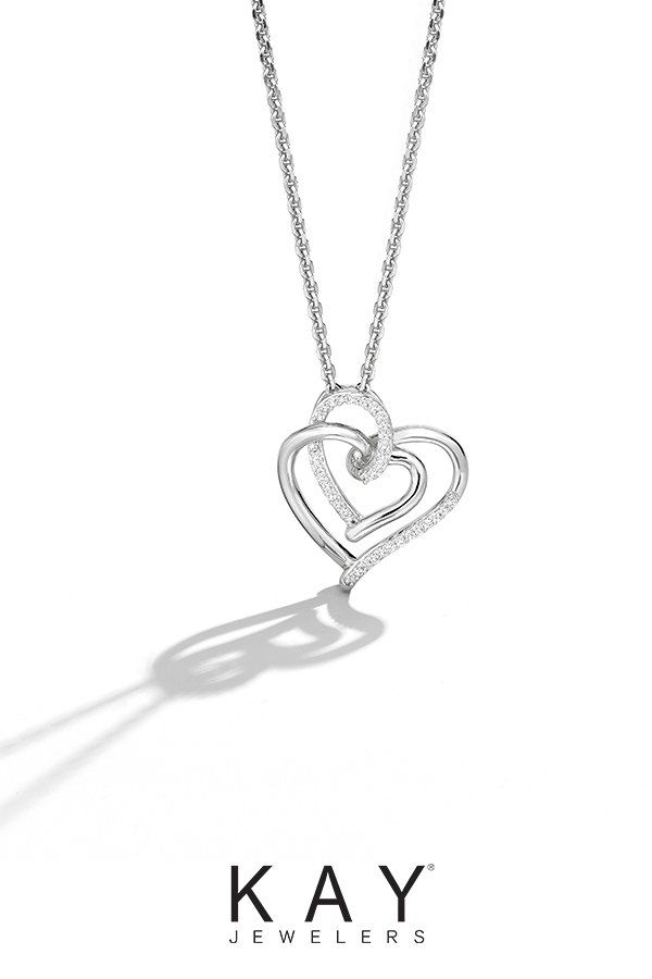 This Sterling Silver Double Heart Diamond Heart Necklace From The Moments By Hallmark Diamonds Collection Is A Gi Heart Necklace Diamond Diamond Heart Necklace