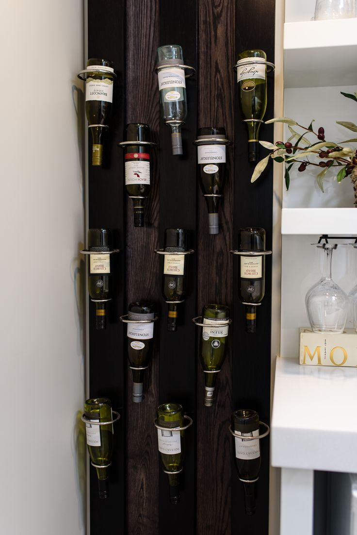 The wine is racked! Helpful storage that also shows the labels.