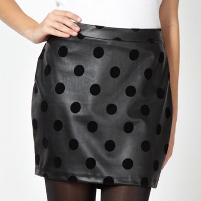 H! by Henry Holland Designer black faux leather spotted mini skirt- at Debenhams.com
