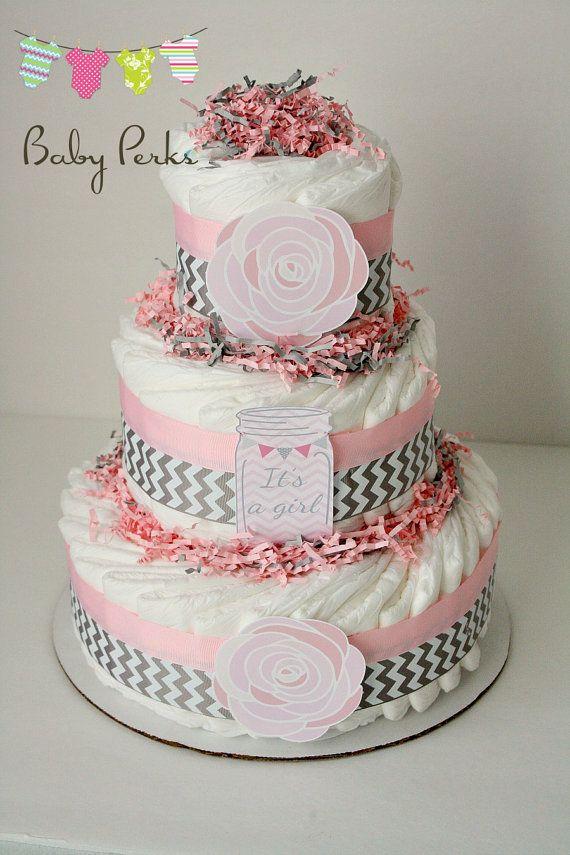 Mason Jar Baby shower Vintage Pink Rustic Flower Diaper cake , Pink and grey diaper cake, chevron diaper cake , pink grey baby shower, baby shower decorations