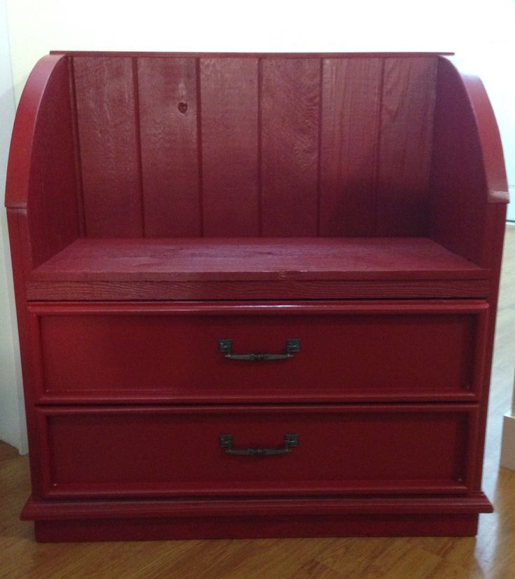 Upcycled 5 Drawer Dresser Transformed Into A Brilliant Red