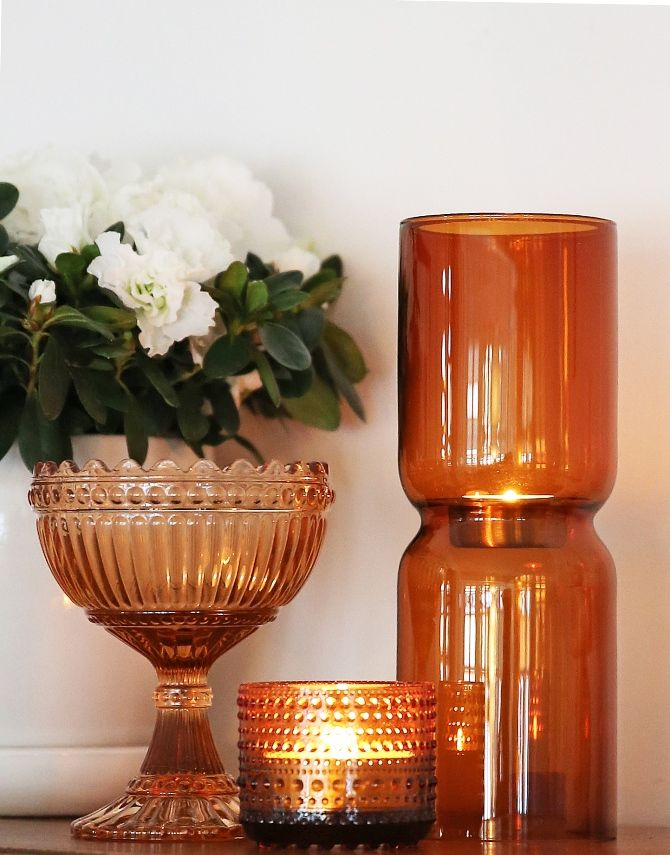 Orange glass decoration ideas. Mariskooli ja tuikkulasit Finland