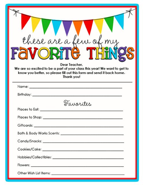 A Few of Your {Teacher's} Favorite Things!
