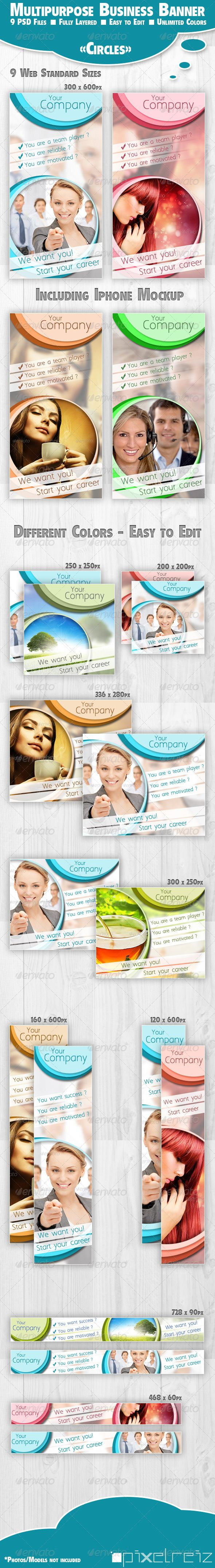 Multipurpose Business Banner Circles - Banners & Ads Web Elements