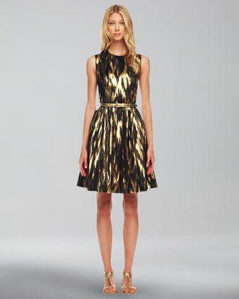 Michael Kors Ikat-Print A-Line Dress - Neiman Marcus