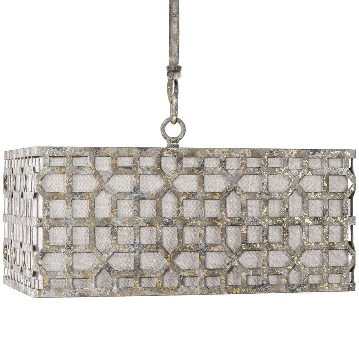"""We gave the Newberry chandelier a broad profile to illuminate a larger space and to achieve a grandiose feel. The rectangular chandelier features a stippled gold metal overlay atop a cream linen shade.    Material: Metal & Linen  Finish: Stippled Gold & Cream Linen  Rod length: 48"""" comes in 12"""" sections"""