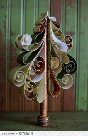 artistic Christmas tree made of paper making