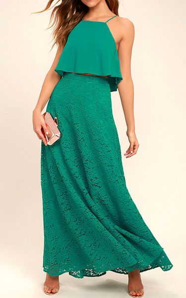 Love At First Sight Teal Lace Two-Piece Maxi Dress via @bestmaxidress