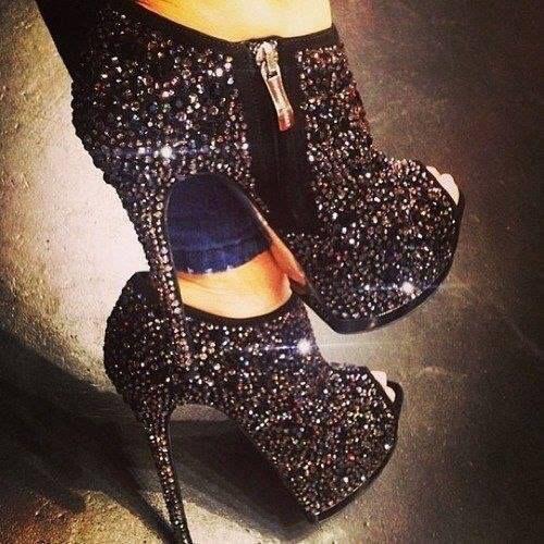 Black diamond covered heels
