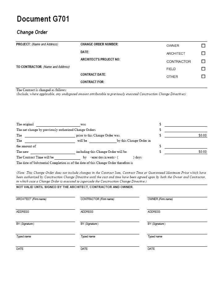 Change Order Template 3 Order Form Template Order Form Template Free Word Template