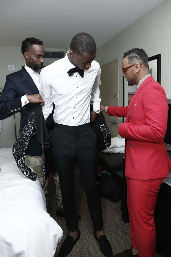 While Andrew Wiggins was suiting up for the NBA Draft, WWD was there for all the behind-the-scenes action.  [Photo by Thomas Iannaccone]