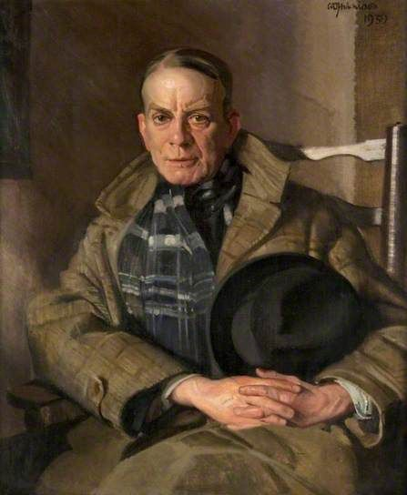 Portrait of Hugh Munro (1870–1916), 1939 by William Oliphant Hutchison (Scottish 1889-1970)....plaid coat & scarf....Hector Hugh Munro , better known by the pen name Saki,  was a British writer whose witty, mischievous and sometimes macabre stories satirised Edwardian society. He is considered a master of the short story and influenced A. A. Milne, Noël Coward, and P. G. Wodehouse.
