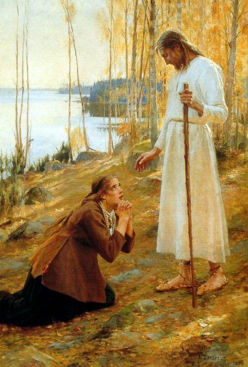 Christ and Magdalena - Albert Edelfelt
