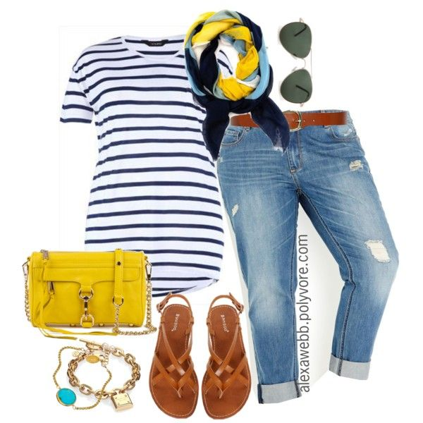 Plus size - dare to wear the horizontal stripes, but make sure you break it up with a scarf, best or cami!