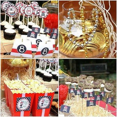 Pirate party -- love the dipped marshmallows and accompanying pirate flags