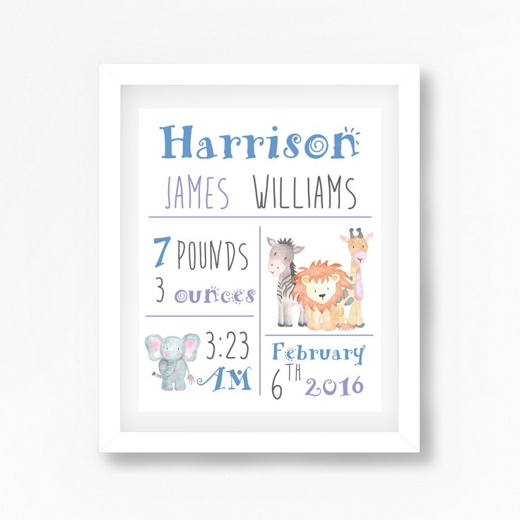 146 best personalised new baby gifts images on pinterest baby personalised baby boy jungle nursery wall art negle Gallery