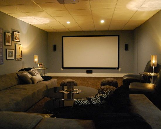 Dream Basement Media Room With Sectional Sofa And Giraffe Texture Carpeting