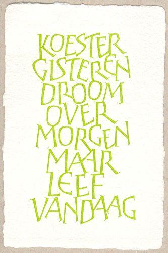 Ontwerp kalligrafie: Linda Truyers