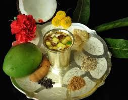 """The name Yugadi or Ugadi is derived from the Sanskrit words yuga (age) and ādi (beginning): """"the beginning of a new age"""". It falls on a different day every year because the Hindu calendar is a lunisolar calendar. The Saka calendar begins with the month of Chaitra (March–April) and Ugadi marks the first day of the new year. Chaitra is the first month in Panchanga which is the Indian calendar. In some parts of India it is known as Vikram Samvat or Bhartiya Nav Varsh."""