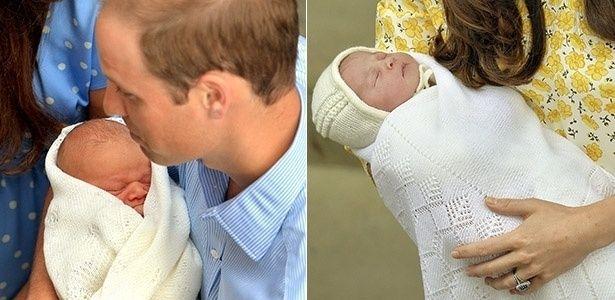 Príncipe William segura o filho, príncipe George, no colo logo após o seu nascimento, em julho de 2013. À direita, Kate Middleton apresenta a filha recém-nascida, em frente ao hospital St. Mary, em Londres.  Fotografia: AFP/Reuters.