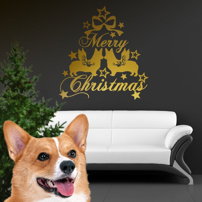 Christmas Dog Wall Decal Welsh Corgi Cardigan, Dogs Angels - Good for Walls, Cars, Ipads, Mirrors Etc by PSIAKREW on Etsy
