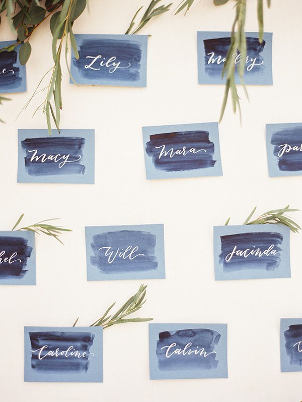 Calligraphy and Watercolor Escort Cards   Krista A. Jones Fine Art Photography   Artistic French Blue Wedding
