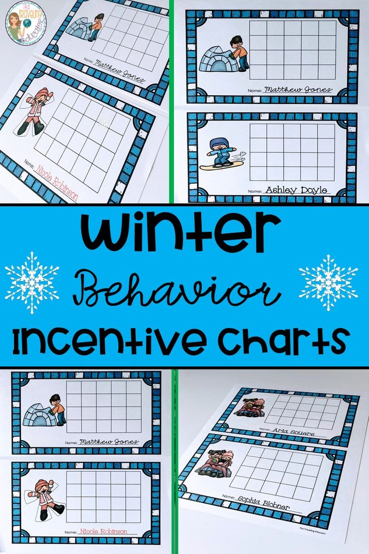 Promote good classroom behavior with these Winter Behavior Incentive Charts! Winter is here.  Students in kindergarten through 2nd grade will love these Winter incentive charts to earn rewards in the classroom.  Students earn stickers for positive behavior in the classroom.  Each time a student earns 5 stickers in a row, he or she earns a prize or a reward.  Students will be good in no time with these incentive charts.  Click here for these easy prep Winter themed incentive charts. #Winter