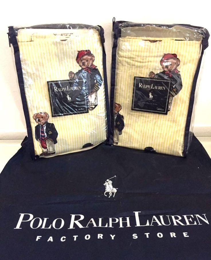 NEW RARE Ralph Lauren Teddy Bear Yellow U0026 White Shams~ Vintage ~ Very Cute!