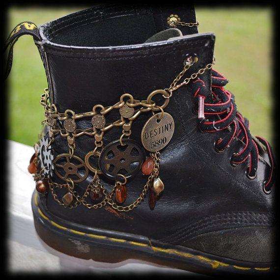 Steampunk Boot Chain Bracelet  Destiny  Convertible by Alluvium13, $25.50