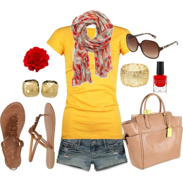 Summer Outfit: Summer Fashion, Fashion Idea, Cute Summer Outfit, Fashionista Trends, Styles Files, Styles Clothing, Bright Yellow, Summer Clothing, Longer Shorts