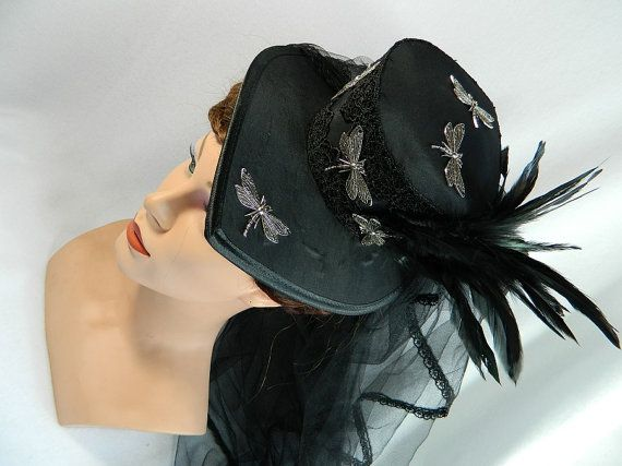 Minihat black Gothic Mini Tophat Fascinator by Nashimiron on Etsy