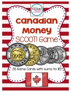$ Canadian Money Game - Sums to $5: Includes 28 task cards and recording sheets