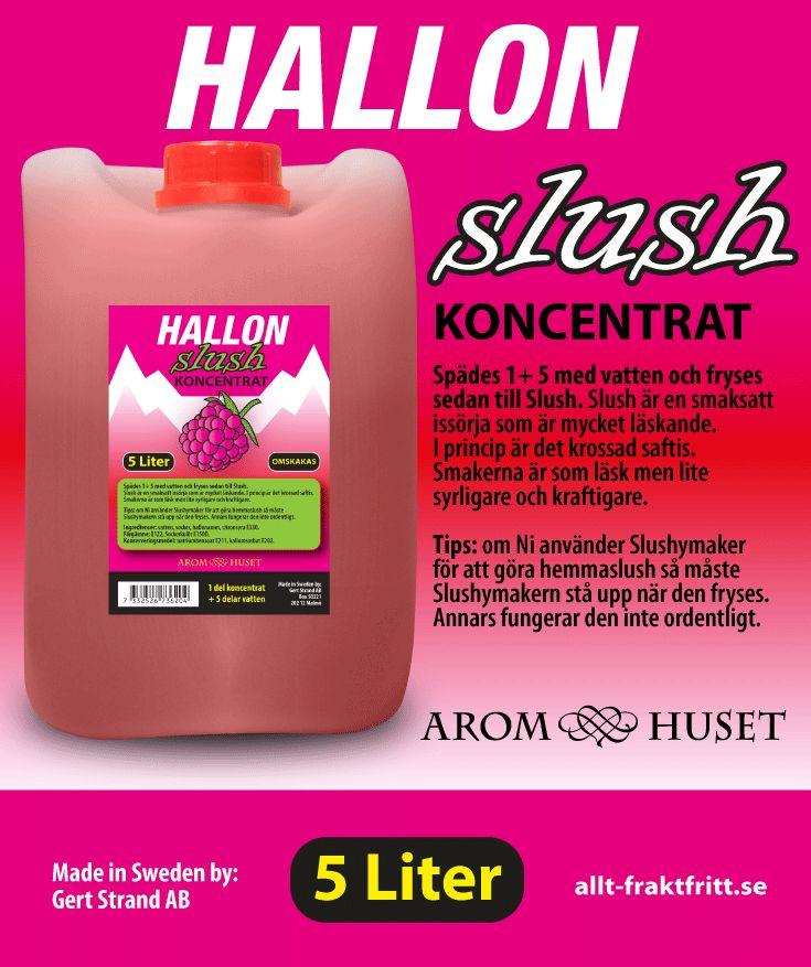 Slush Koncentrat Hallon Aromhuset Slush Koncentrat Hallon för att göra egen slush.  Avsett för alla muggar och slushmaskiner oavsett fabrikat.  Rekommenderad dosering är 1+5. 1 del koncentrat + 5 delar vatten, eller efter egen smak. Aromhuset Slush Koncentrat med smak som det ska smaka.