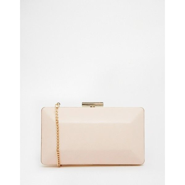 Lipsy Rectangle Hard Case Clutch Bag ($48) ❤ liked on Polyvore featuring bags, handbags, clutches, nude, white purse, nude purses, nude handbags, nude clutches and chain strap purse