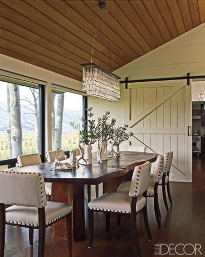 elle decor  I love the mix of tailored and refined with rustic.