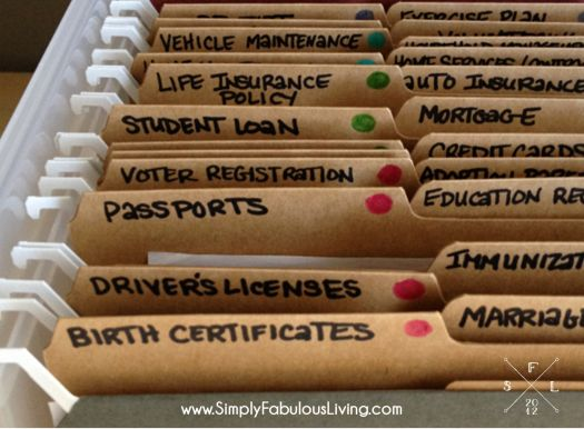 Simply Fabulous Living | {the weekend organizer} creating simplified   organized personal reference files | http://simplyfabulousliving.com