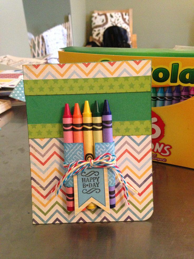 Crayon Birthday Card Rainbow Birthday Card Happy