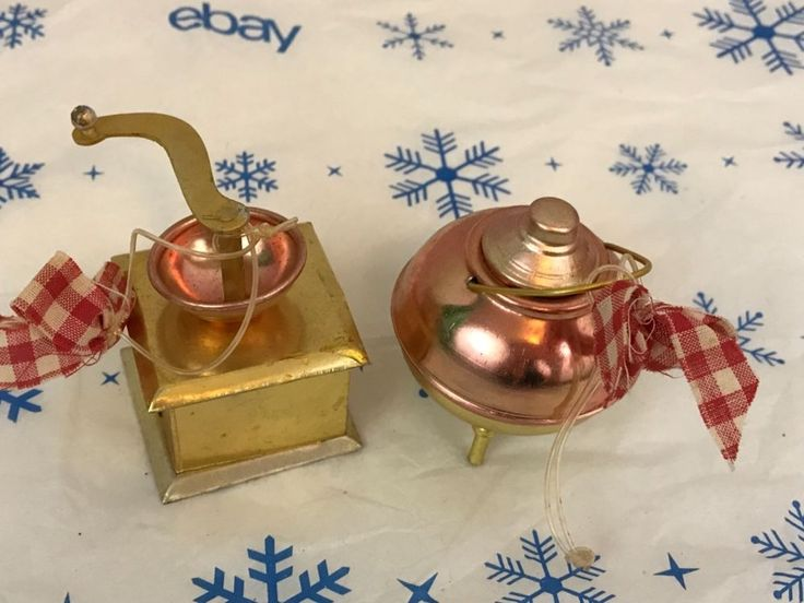 Tin Coffee Grinder Tea Kettle Metal Christmas Ornaments Collectibles | Collectibles, Holiday & Seasonal, Christmas: Modern (1946-90) | eBay!
