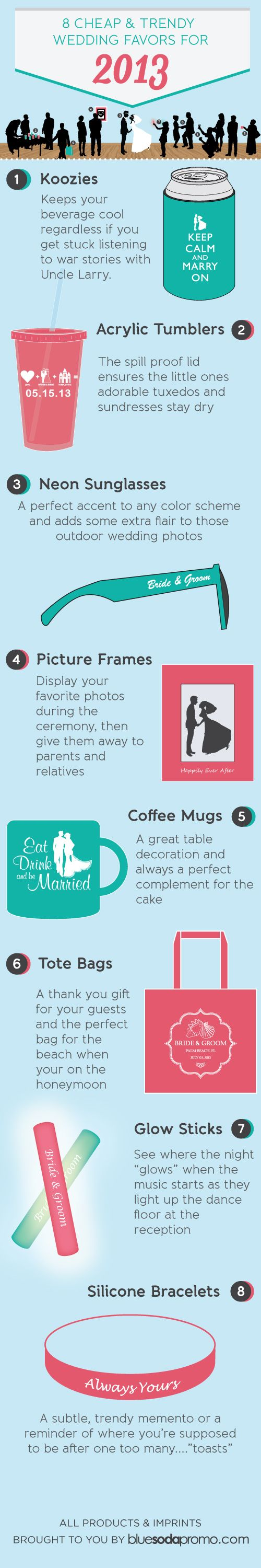8 Cheap and Trendy Wedding Favors for 2013 / gifts for your guests / not necessary