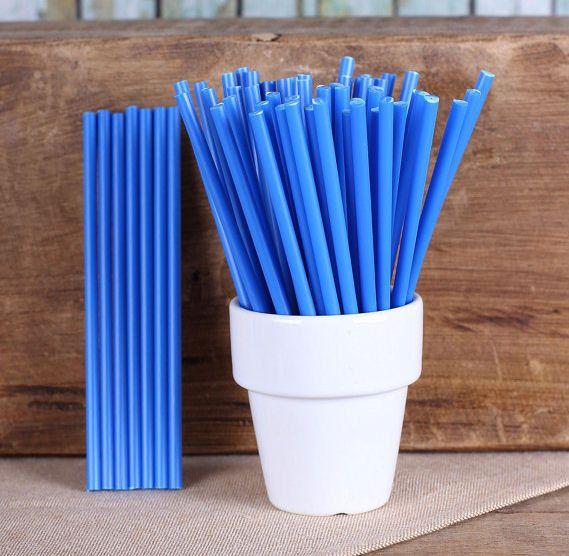 "Blue Plastic Lollipop Sticks - 4.5"" (30)"