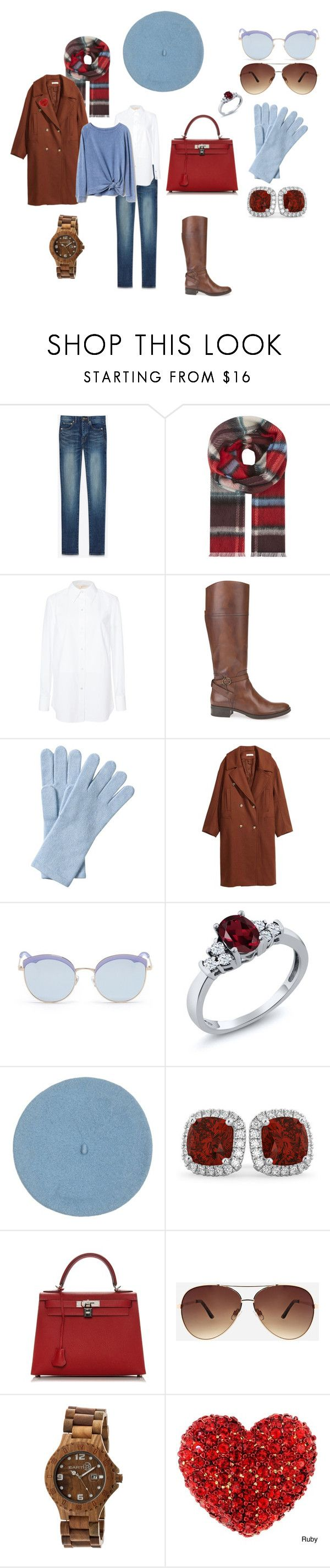 """Зима. Натуральный вектор."" by keltman on Polyvore featuring мода, Yves Saint Laurent, Burberry, Tory Burch, Geox, Pure Collection, Stephane + Christian, Allurez, Hermès и Ashley Stewart"