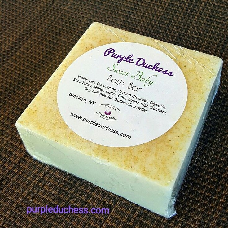 Sweet Baby Bath Bar...all natural ingredients for sensitive skin care routine..fragrances free, no parabens and sulfates and always detergent free. Purpleduchess.com #purpleduchess #skincare #handmadeskincare #soap #naturalskincare #veganskincare #handmadesoap #soapmaking #shopping #unisex #babies #sweetbaby #fragrancefree #babies #kids #family #naturalbutters
