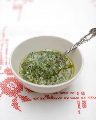 Salsa verde   Recipe: http://www.jamieoliver.com/recipes/other-recipes/mixed-herb-salsa-verde