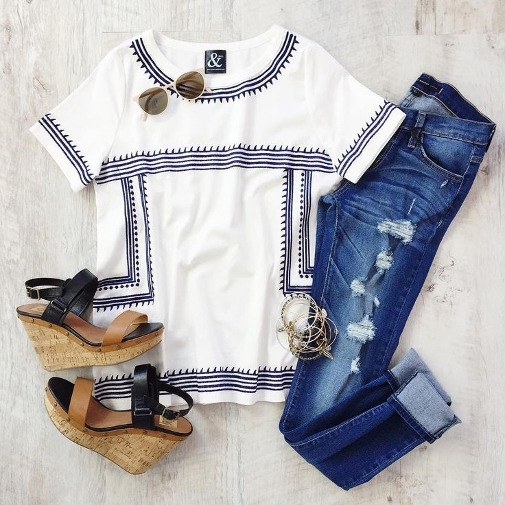 spring tee and distressed denim from Mindy Mae's Market