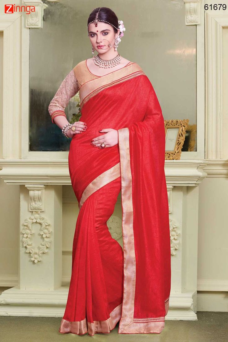 Attractive Looking Silk Red Ethnic Saree Womens. For Details www.zinnga.com