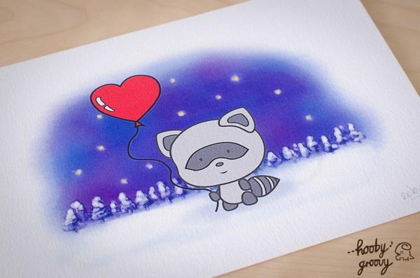 Winter Raccoon Art Print, available at www.hoobygroovy.com