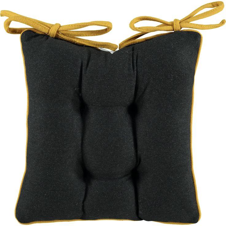 """The Cushion Factory"" Charcoal Grey & Yellow Seat Pad - TK Maxx"